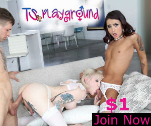 TS Playground shemale models Khloe Kay and lena Kelly in Hot threesome action. Kelly Is getting fucked in the ass by a stud while sucking Khloe's hard cock. Plus TS Playground logo