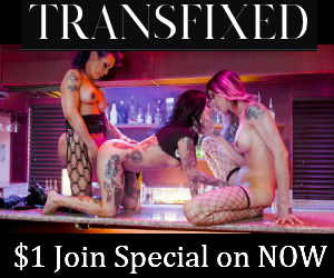 Transfixed.com logo. Image of shemales Foxxy and Casey Kisses fucking female pornstar. Image of black shemale Natassia Dreams with other models at a transporn photoshoot